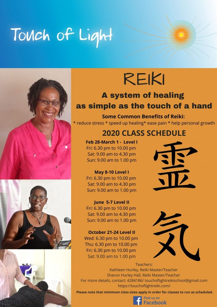 Touch of Light Reiki class schedule for 2020
